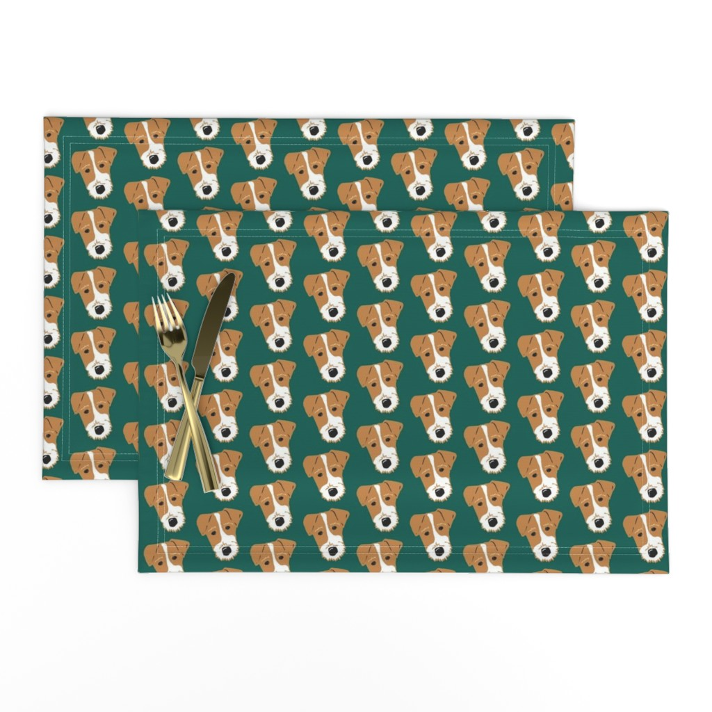 Lamona Cloth Placemats featuring Wire Fox Terrier - Jack Russell Terrier - Tan on dark green by cheekyhodgepodge