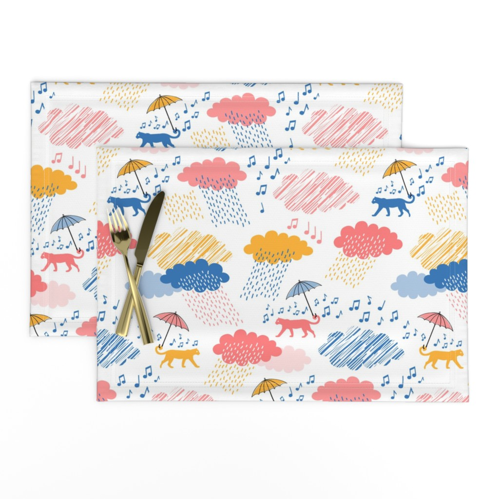 Lamona Cloth Placemats featuring Leopards Singing in the Rain by pinkdeer