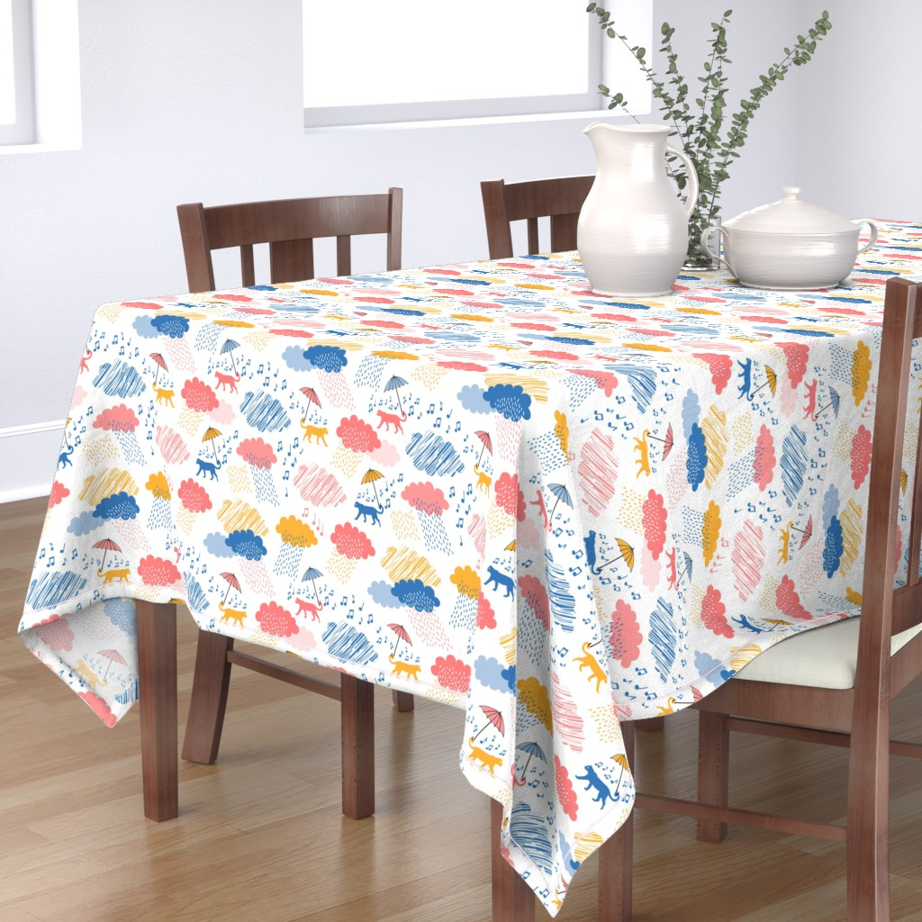 Bantam Rectangular Tablecloth featuring Leopards Singing in the Rain by pinkdeer