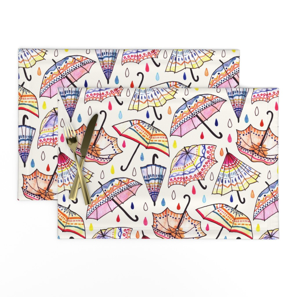 Lamona Cloth Placemats featuring   What Goes Up When Rain Comes Down? (Large Version) by tigatiga