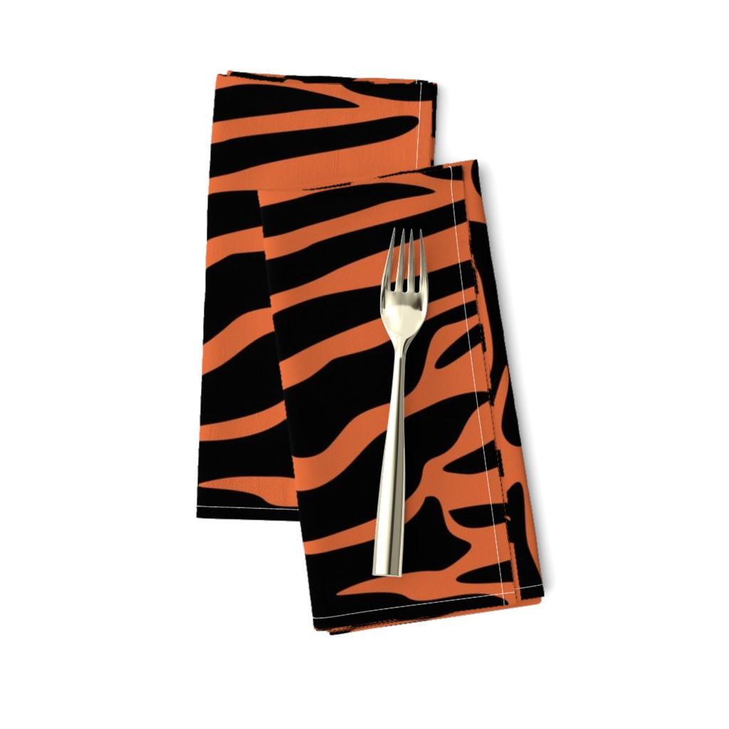 Amarela Dinner Napkins featuring Tiger Orange and Black Animal Print by furbuddy