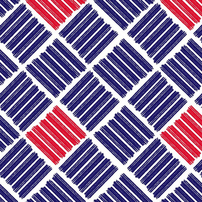 Brush Stroke Geometric Blue and Red