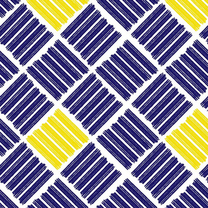 Brush Stroke Geometric Blue and Yellow
