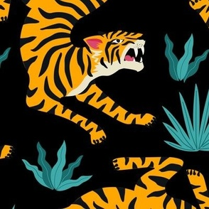 Tigers Dancing on Black, Asian Tiger, Gold Orange and Black Animal Print Champs