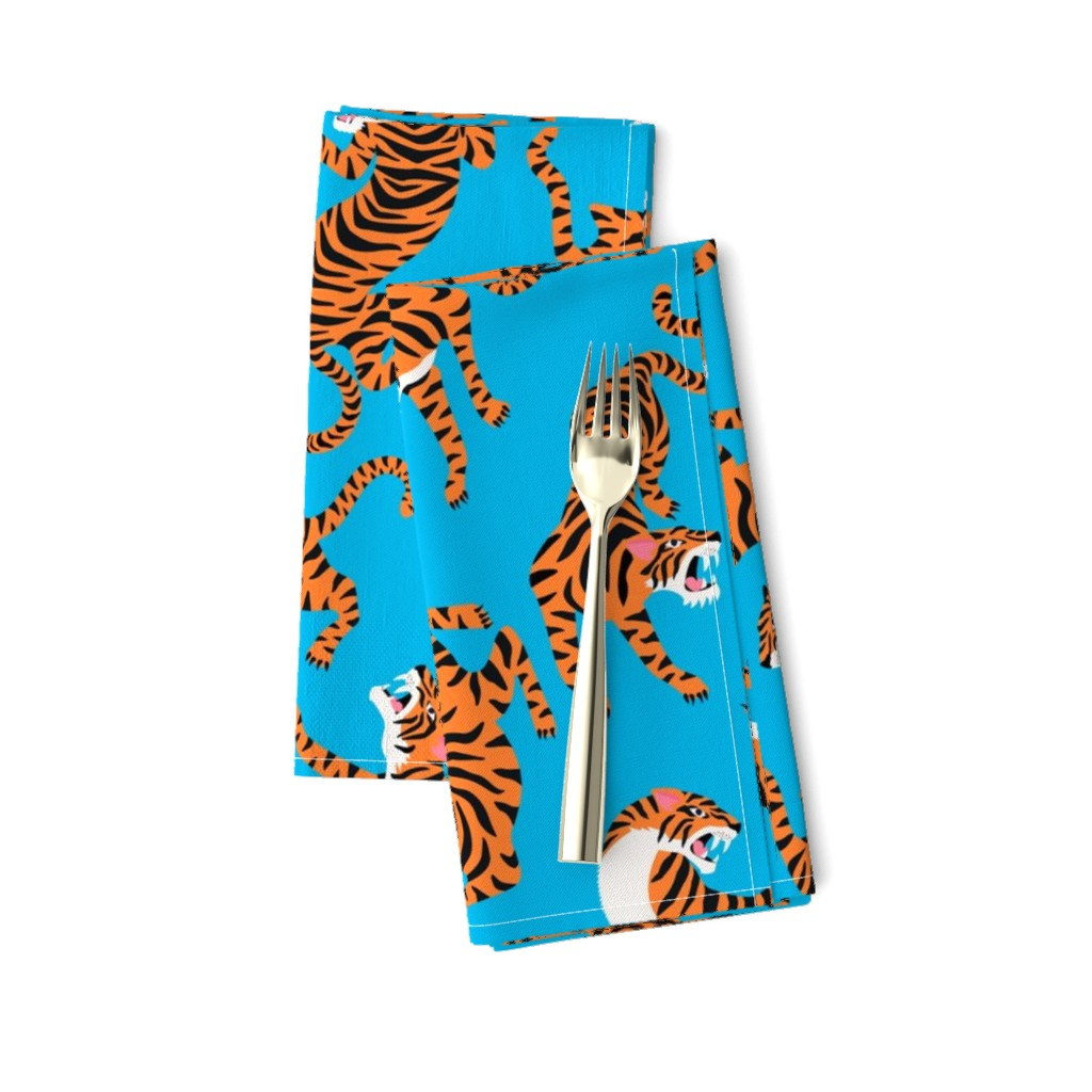 Amarela Dinner Napkins featuring Tigers Dancing on Blue Background and Orange Animal Print Champs on Fading or Gradient Background by furbuddy