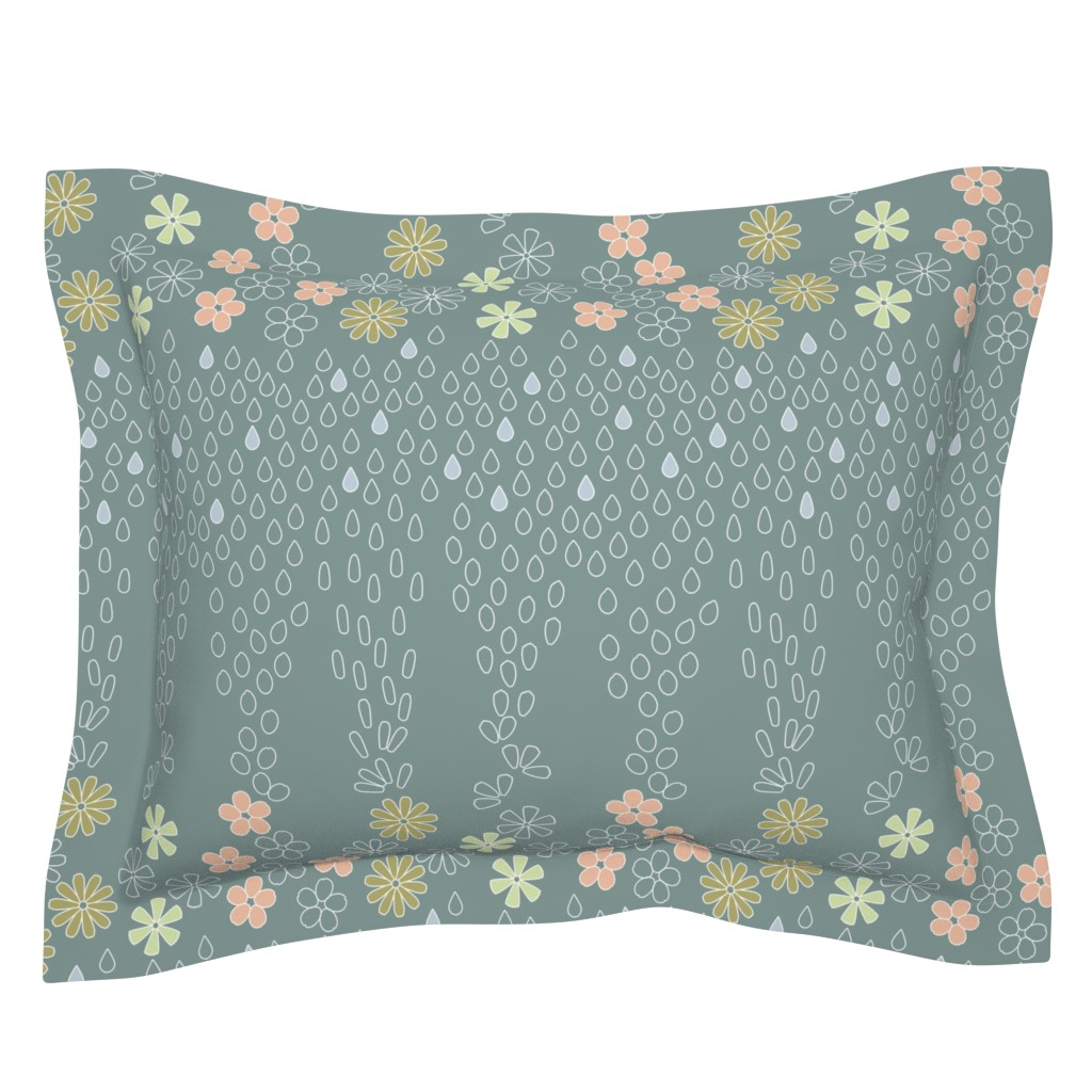 Sebright Pillow Sham featuring April Showers Kimono by twigged