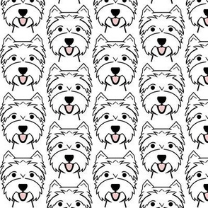 Adorable Westie fabric - West Highland Terrier fabric for DIY projects