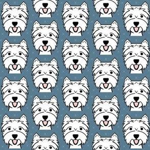 Happy Westie fabric - cute West Highland Terrier design
