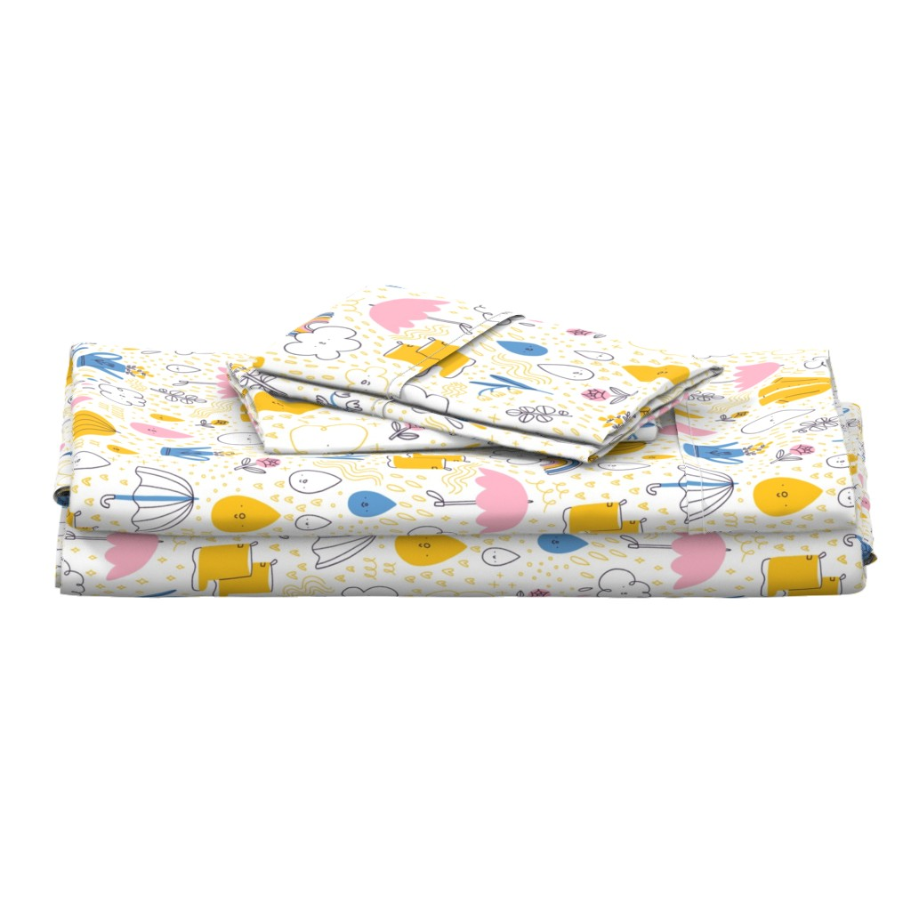 Langshan Full Bed Set featuring Rainy spring pattern by stolenpencil