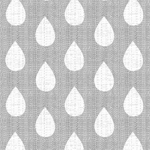 Raindrops on gray flannel