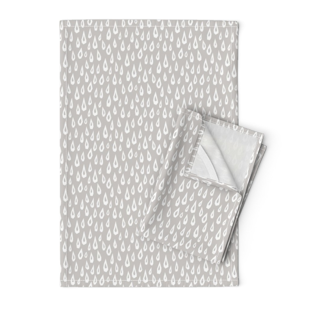 Orpington Tea Towels featuring Raindrops on Gray by autumn_musick