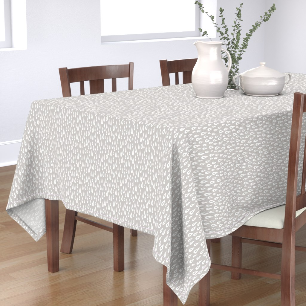 Bantam Rectangular Tablecloth featuring Raindrops on Gray by autumn_musick
