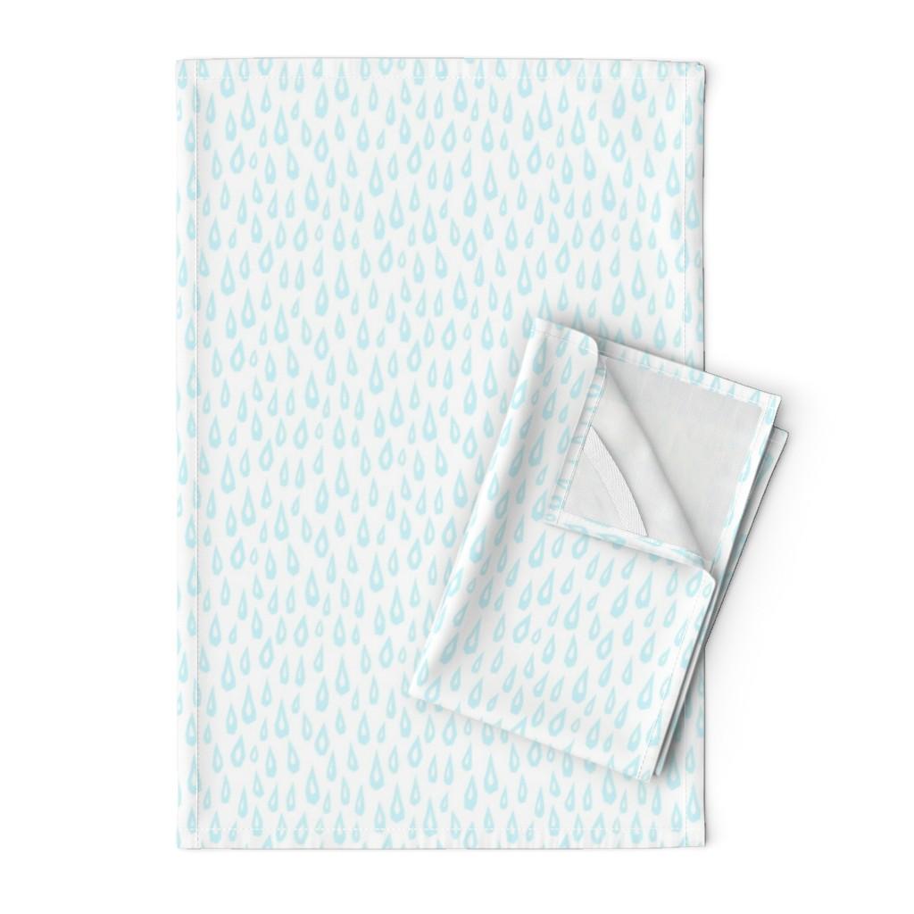 Orpington Tea Towels featuring Raindrop Collage - Blue on White - © Autumn Musick 2019 by autumn_musick