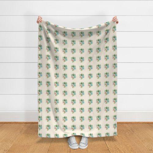 Decorative fabric Linen look Cactus beige green pink