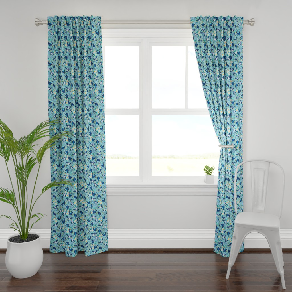 Plymouth Curtain Panel featuring Spring swallows by solnca_lych