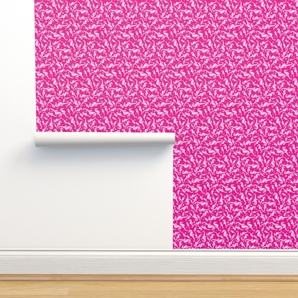 Isobar Durable Wallpaper featuring Ditsy Seahorse Magenta by rebeccaink