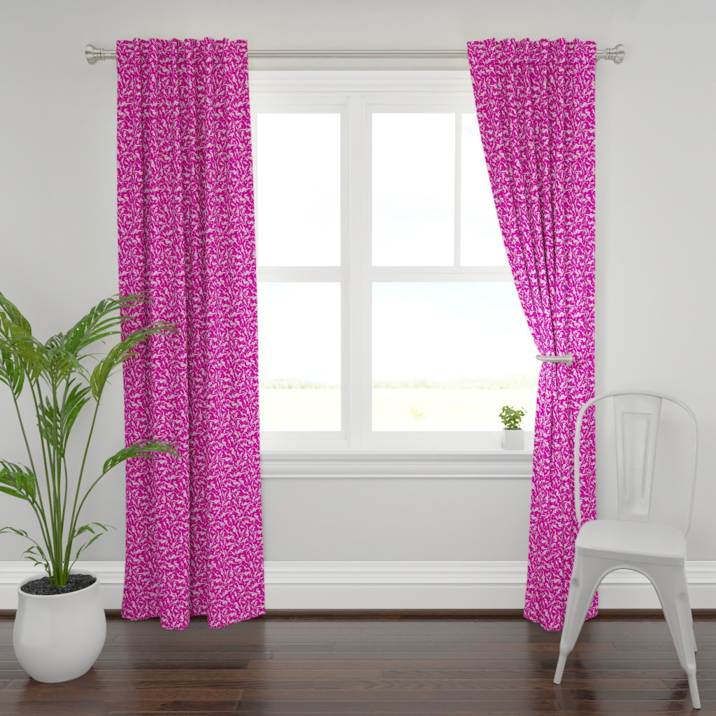 Plymouth Curtain Panel featuring Ditsy Seahorse Magenta by rebeccaink