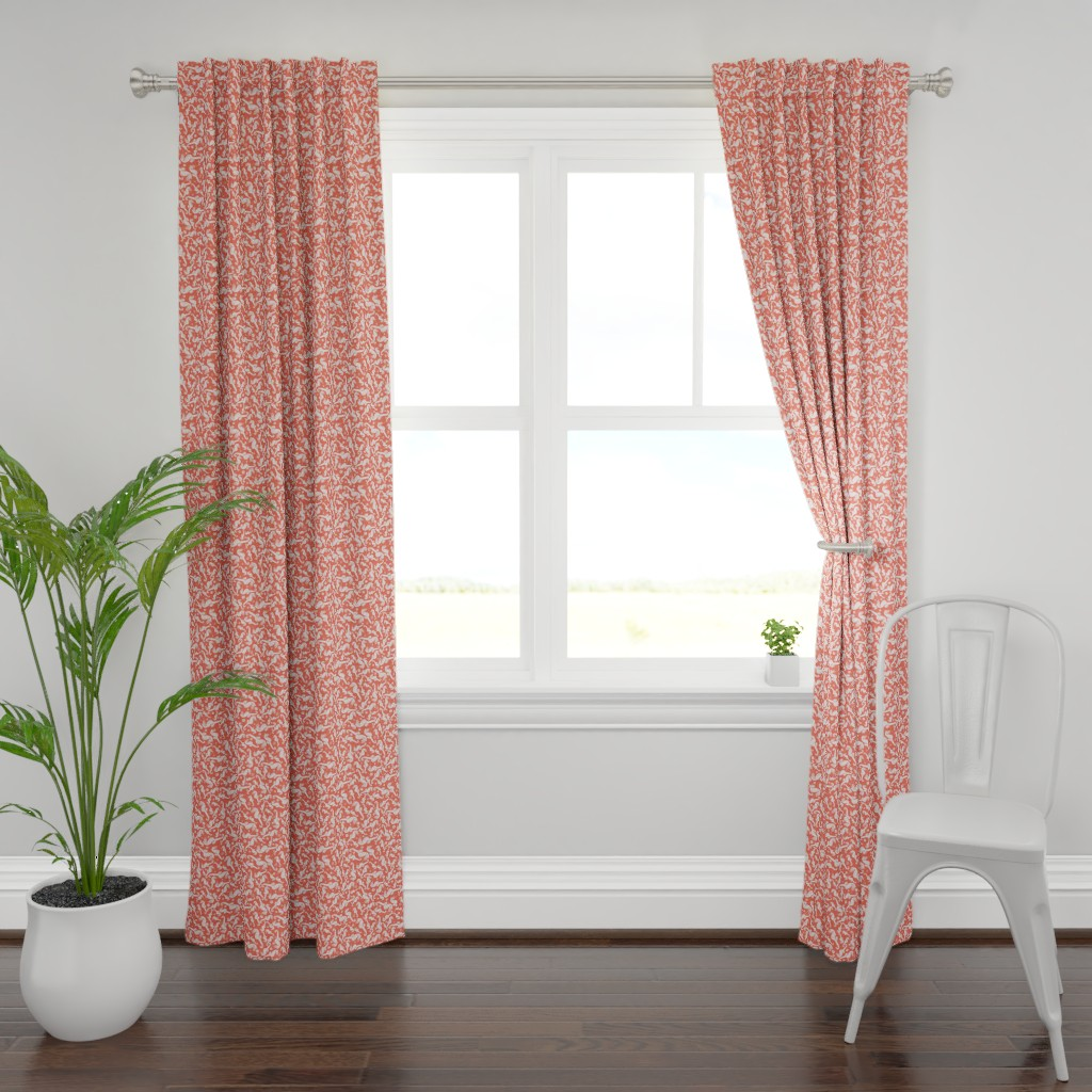 Plymouth Curtain Panel featuring Ditsy Seahorse Coralled by rebeccaink