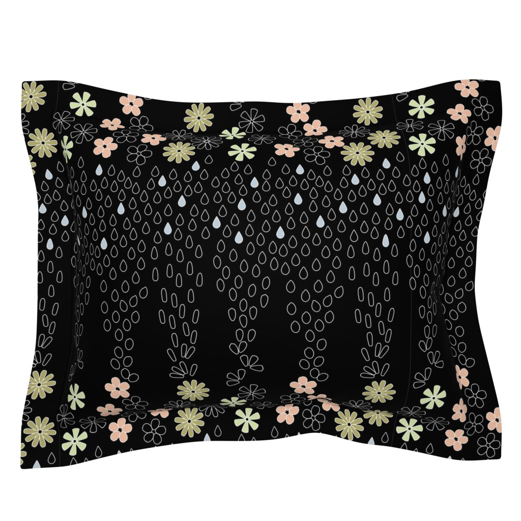 Sebright Pillow Sham featuring April Showers Kimono-Black by twigged