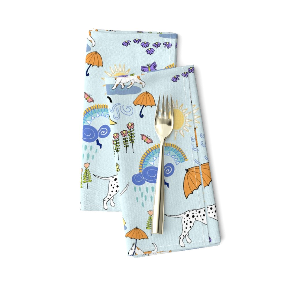 Amarela Dinner Napkins featuring Dalmatian Showers by palifino