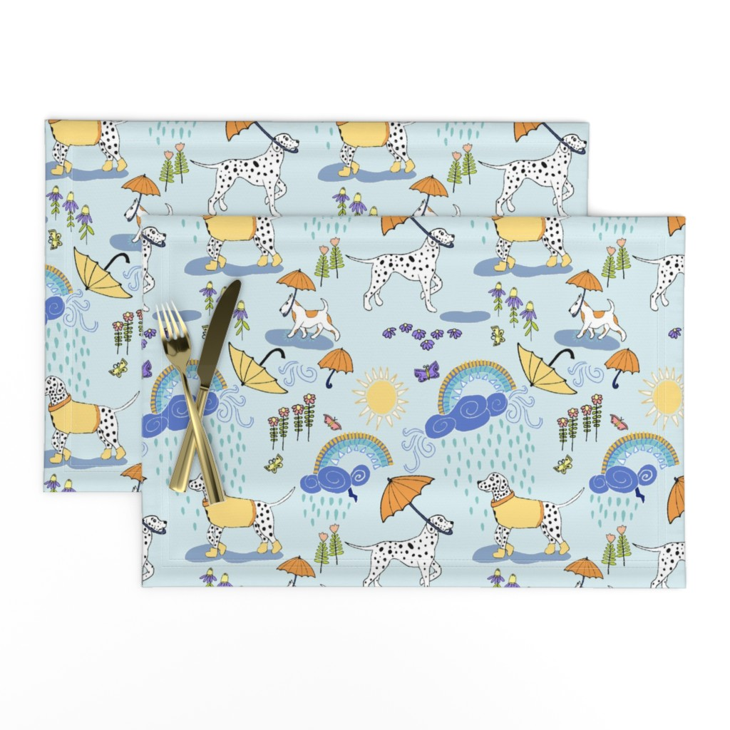 Lamona Cloth Placemats featuring Dalmatian Showers by palifino