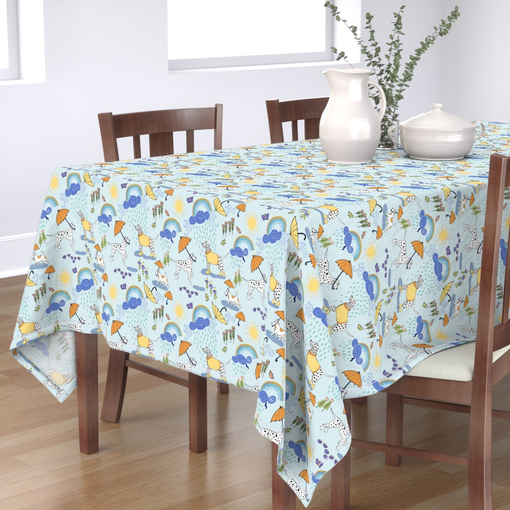 Bantam Rectangular Tablecloth featuring Dalmatian Showers by palifino
