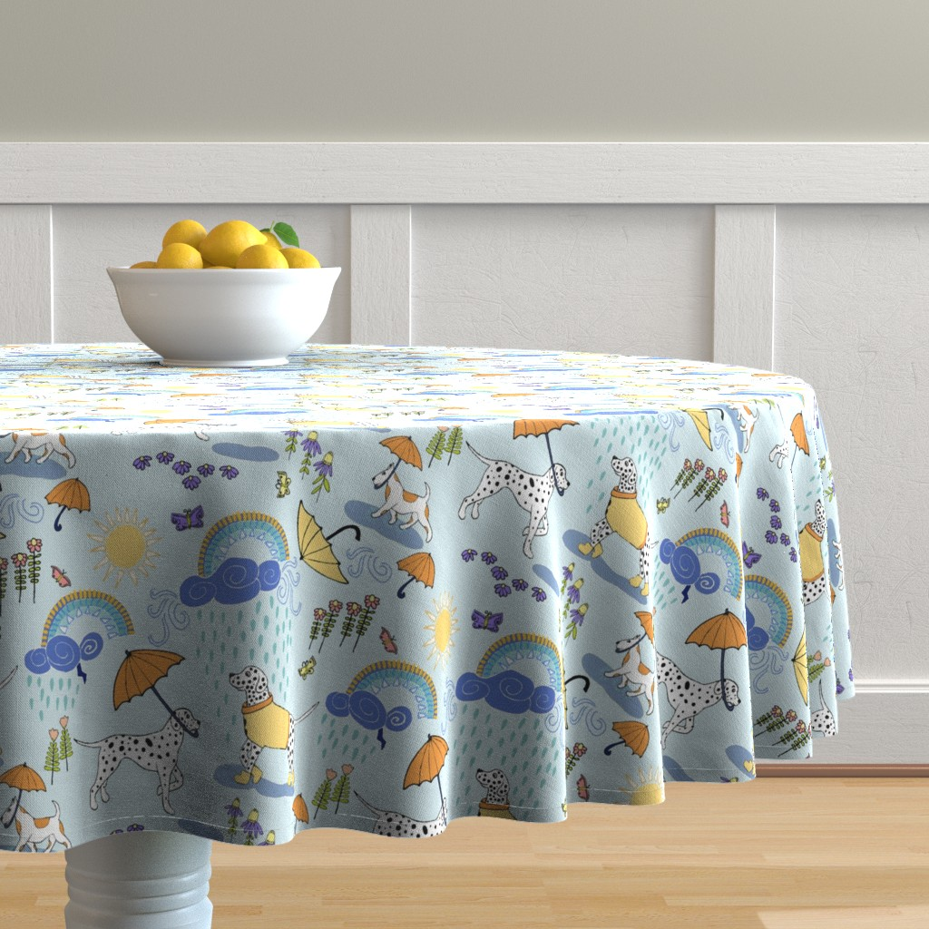 Malay Round Tablecloth featuring Dalmatian Showers by palifino