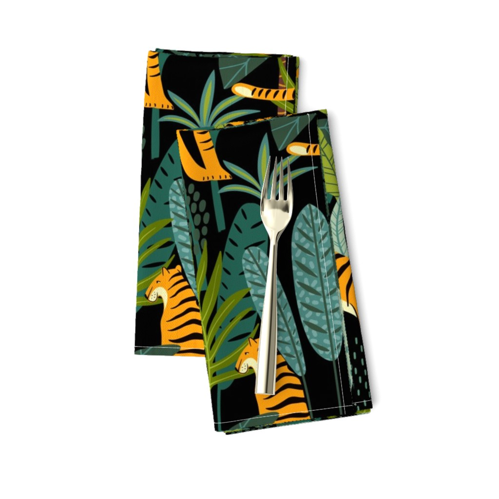 Amarela Dinner Napkins featuring Tiger Dancing in the Jungle on Black Background, Gold Orange and Black Animal Print Champs on Fading or Gradient Background by furbuddy