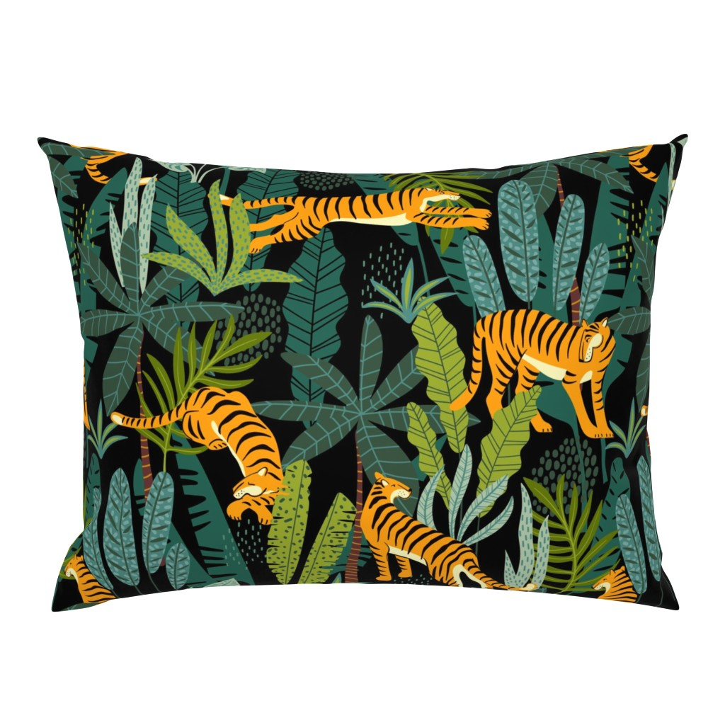 Campine Pillow Sham featuring Tiger Dancing in the Jungle on Black Background, Gold Orange and Black Animal Print Champs on Fading or Gradient Background by furbuddy