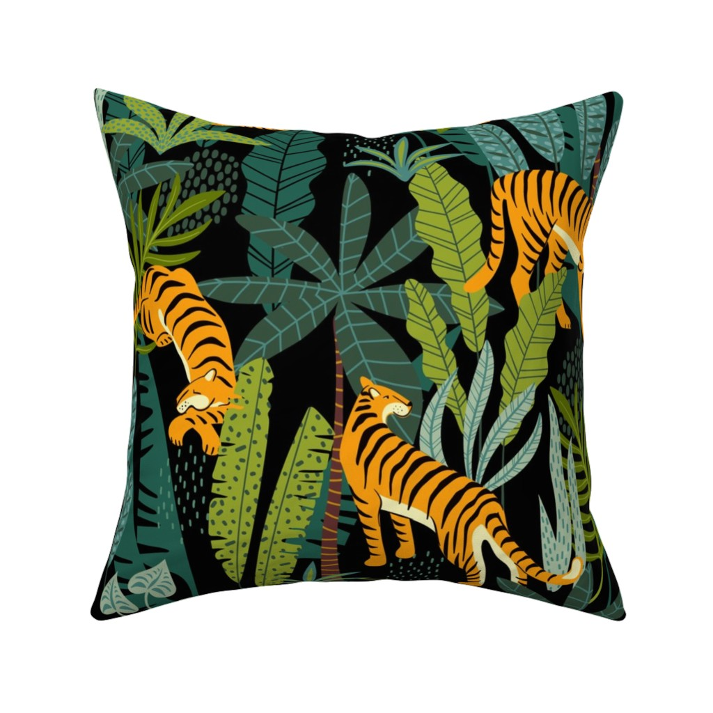 Catalan Throw Pillow featuring Tiger Dancing in the Jungle on Black Background, Gold Orange and Black Animal Print Champs on Fading or Gradient Background by furbuddy