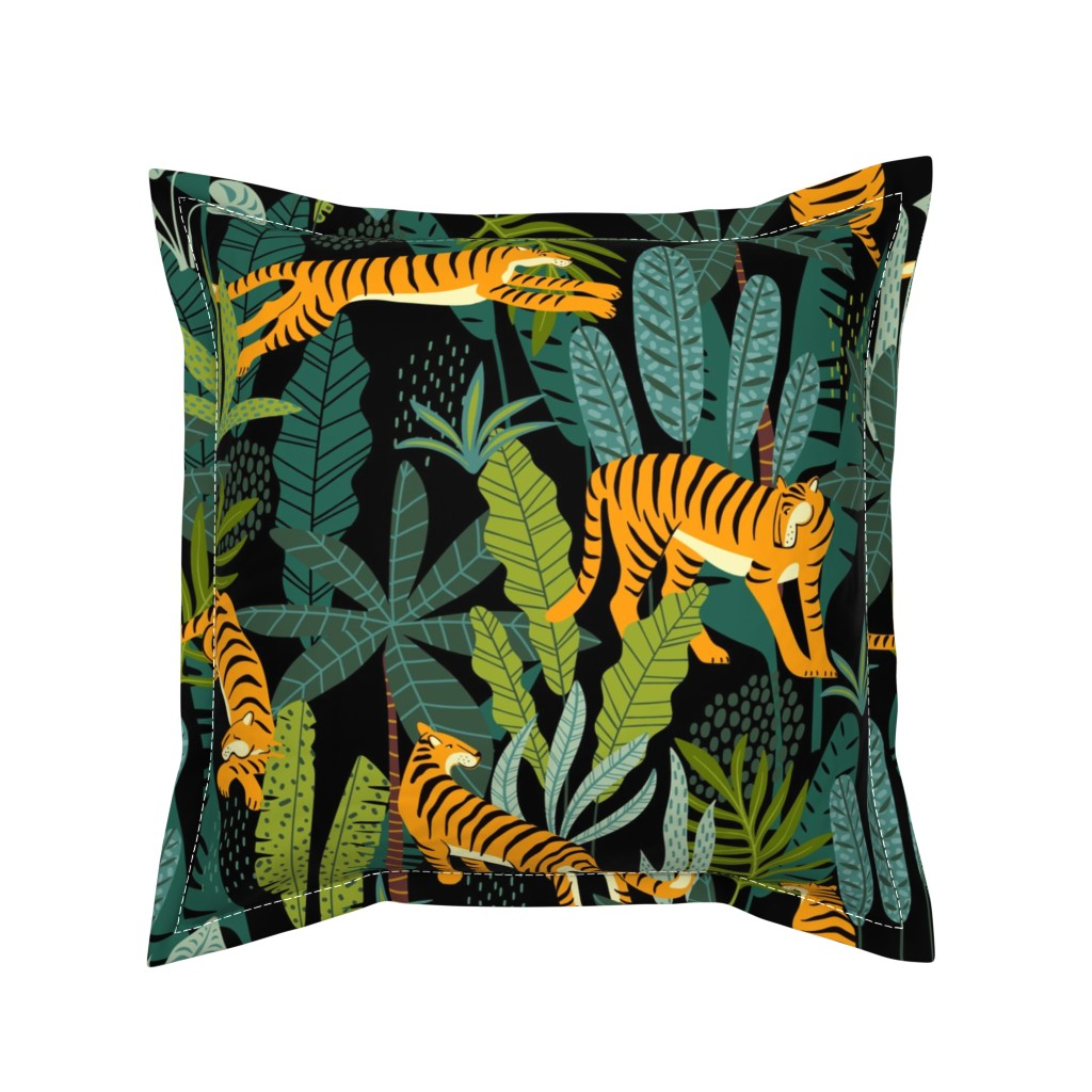 Serama Throw Pillow featuring Tiger Dancing in the Jungle on Black Background, Gold Orange and Black Animal Print Champs on Fading or Gradient Background by furbuddy