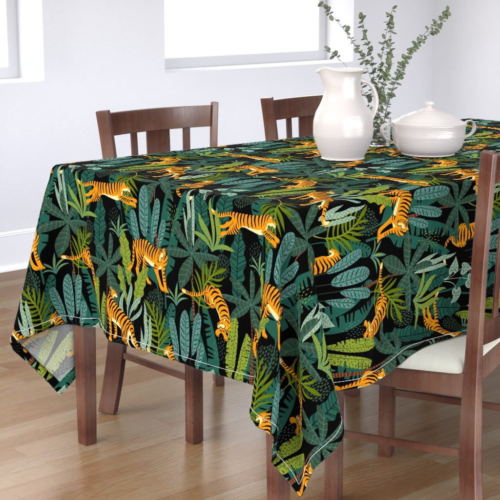 Bantam Rectangular Tablecloth featuring Tiger Dancing in the Jungle on Black Background, Gold Orange and Black Animal Print Champs on Fading or Gradient Background by furbuddy