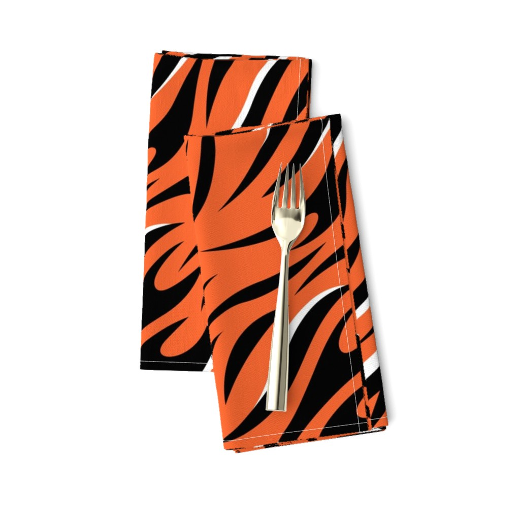 Amarela Dinner Napkins featuring Tigers Sporty Orange and Black with White Highlights  by furbuddy