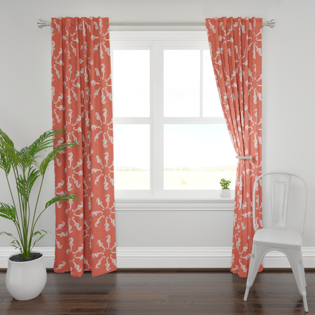 Plymouth Curtain Panel featuring Coral Seahorse Merry Go Round  by rebeccaink