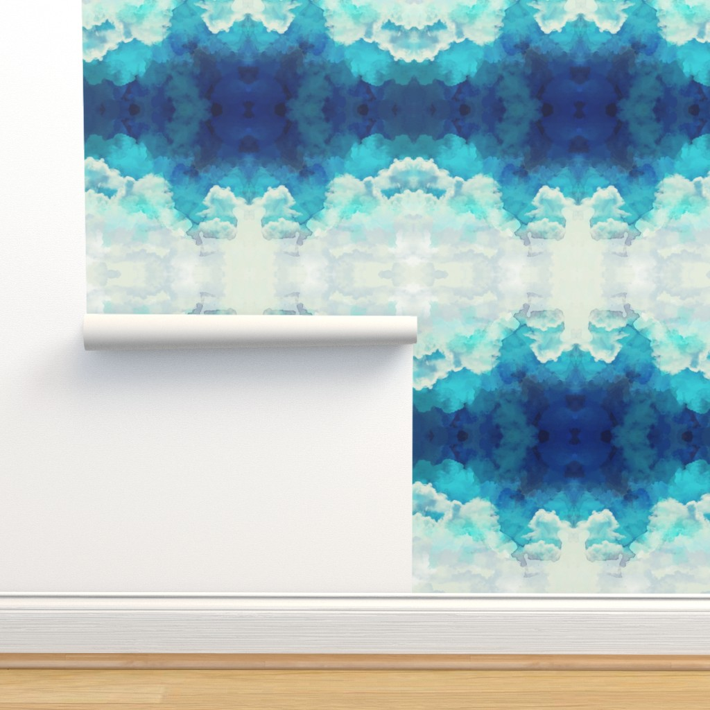 Isobar Durable Wallpaper featuring Watercolor Blue and White Clouds REDUCED v3 by furbuddy