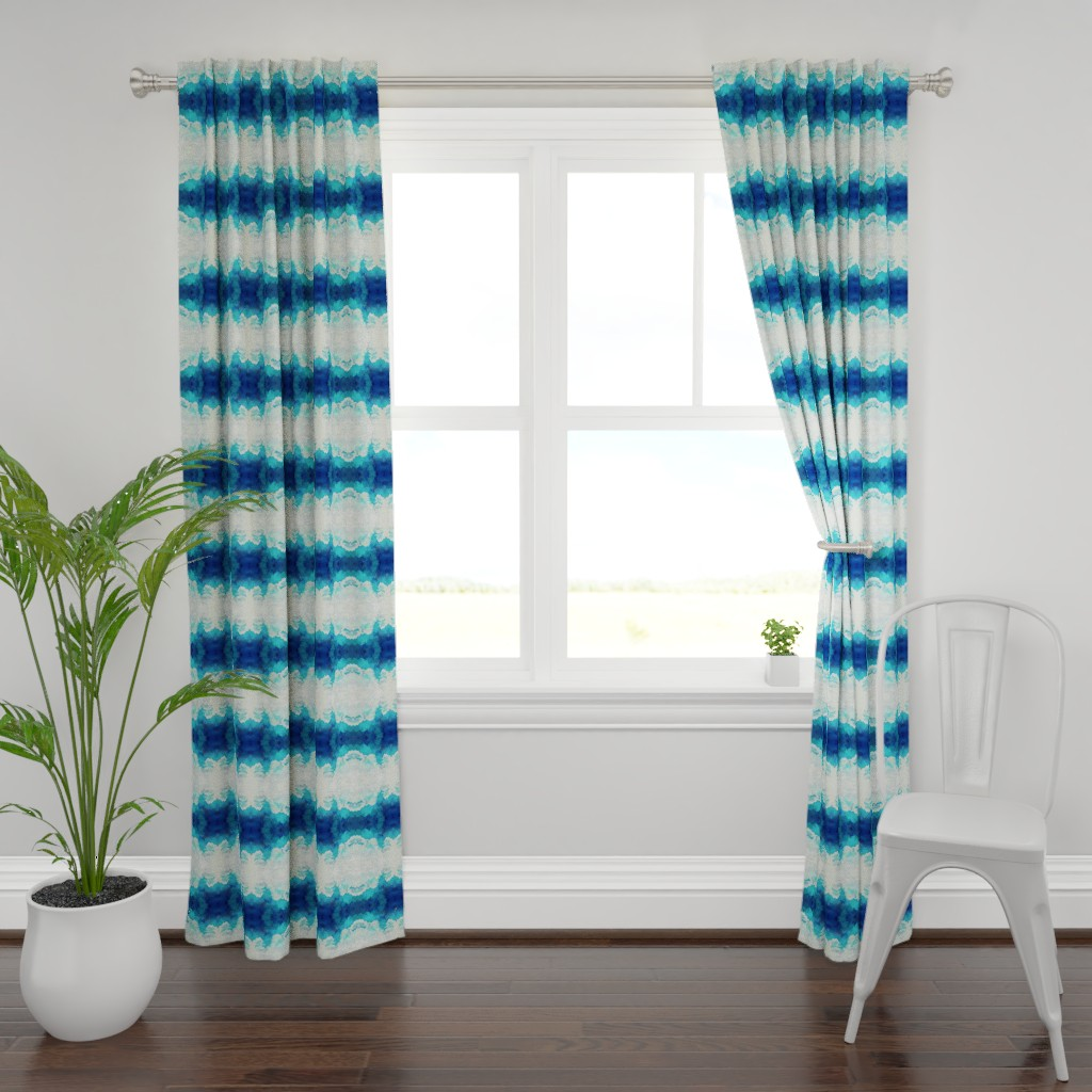 Plymouth Curtain Panel featuring Watercolor Blue and White Clouds REDUCED v3 by furbuddy