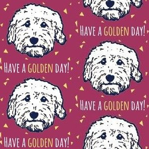 Have a golden day - goldendoodle fabric in plum purple