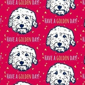 Have a golden day - goldendoodle fabric in dark pink