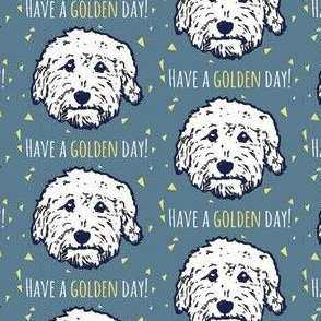 Have a golden day - goldendoodle fabric in blue