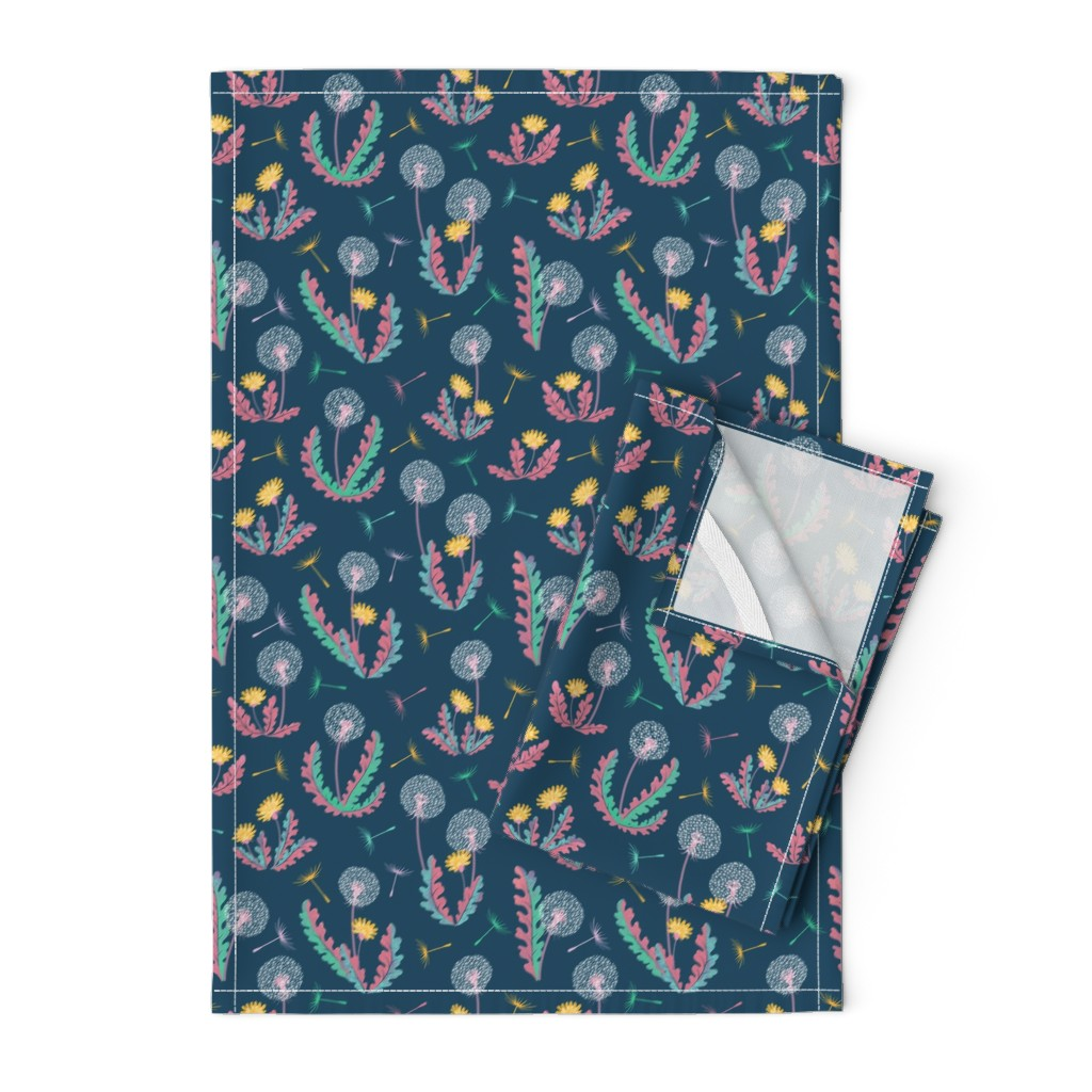 Orpington Tea Towels featuring Dandylion Pattern by taranealart