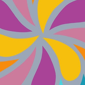In a Spin - orange,purple and blue on grey