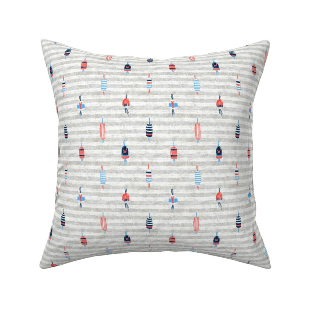 """Catalan Throw Pillow featuring Tricolor Buoys on grey stripes V5 (5"""") by helenpdesigns"""