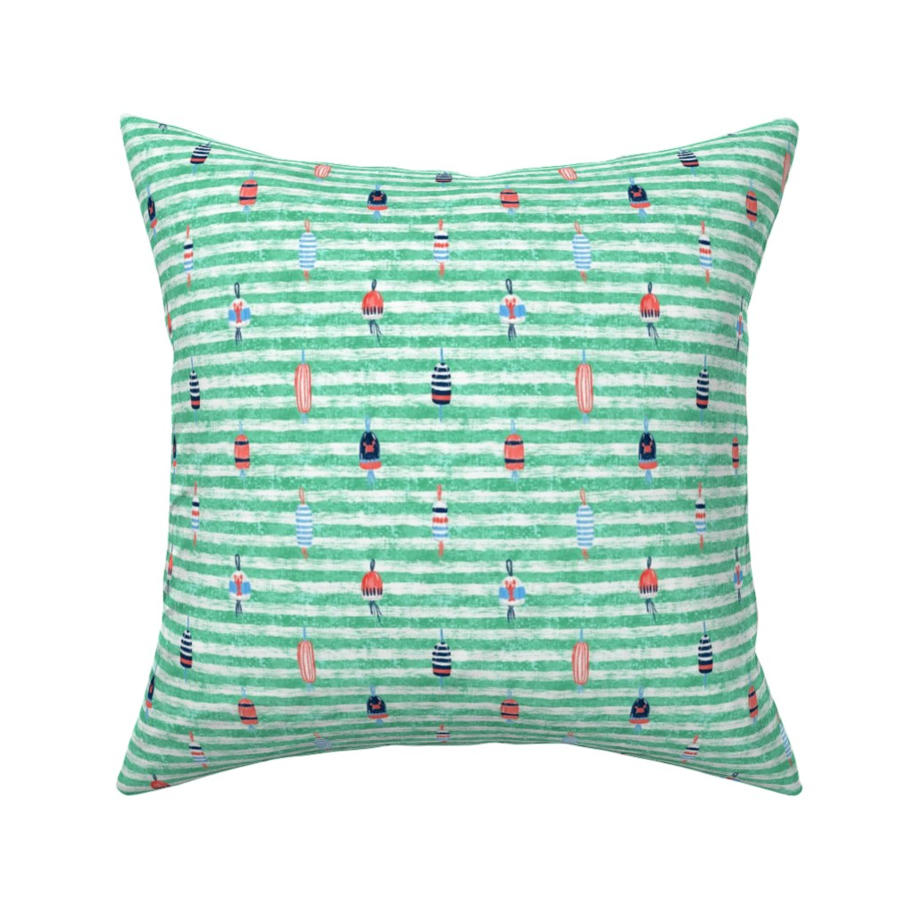 Catalan Throw Pillow featuring Tricolor Buoys on Aquamarine Stripes V1 (24in) by helenpdesigns