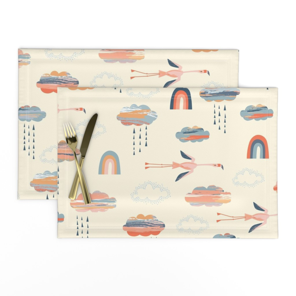 Lamona Cloth Placemats featuring Flamingo flight LARGE by chris_jorge