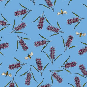 Bottlebrushes and bees on blue