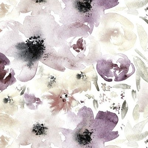 Watercolor flowers in purple