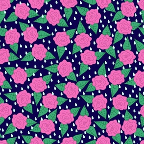 Raindrops on Roses - Pink on Navy
