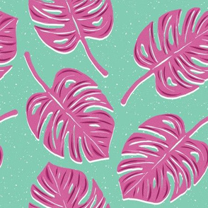 Pink Monstera Leaves on Turquoise