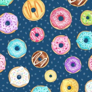 Rainbow Scattered Donuts on spotty navy
