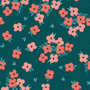 Coral Floral Teal